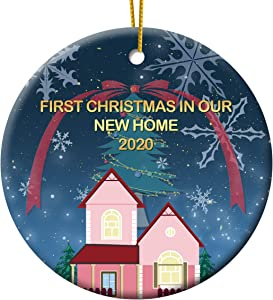 First Christmas in Our New Home 2020 Christmas Ornament, Christmas Tree Ornament, Housewarming Gift, Homeowner Present, 3 Inch Flat Ceramic Ornament