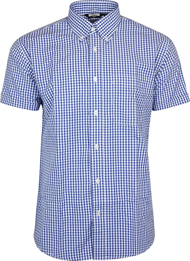 1960s Mens Shirts | 60s Mod Shirts, Hippie Shirts Relco Mens Blue White Classic Gingham Shortsleeve Button Down Polycotton Shirt £31.99 AT vintagedancer.com