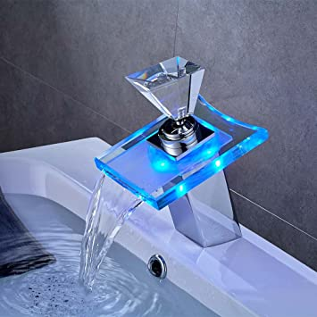 Merveilleux Auralum Bathroom LED Glass Faucet 3 Color Changing RGB Waterfall Basin  Faucet Brass Single Handle Sink