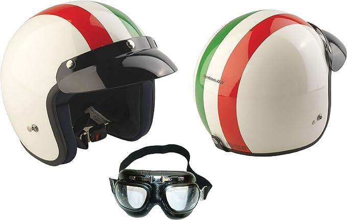 Amazon.es: Rs-04 Casco Jet Viper Italian Open Face casco de la motocicleta, motoneta casco + Gafas (XL)