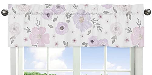Sweet Jojo Designs Lavender Purple, Pink, Grey and White Window Treatment Valance for Watercolor Floral Collection – Rose Flower