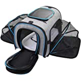 Siivton Airline Approved Pet Carrier, Soft Sided Pet Travel Carrier 4 Sides Expandable Cat Carrier with Fleece Pad for…