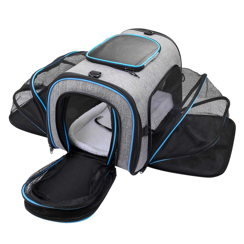 Siivton Airline Approved Pet Carrier, Soft Sided Pet Travel Carrier 4 Sides Expandable Cat Carrier with Fleece Pad for Cats, Puppy and Small Dogs by Siivton