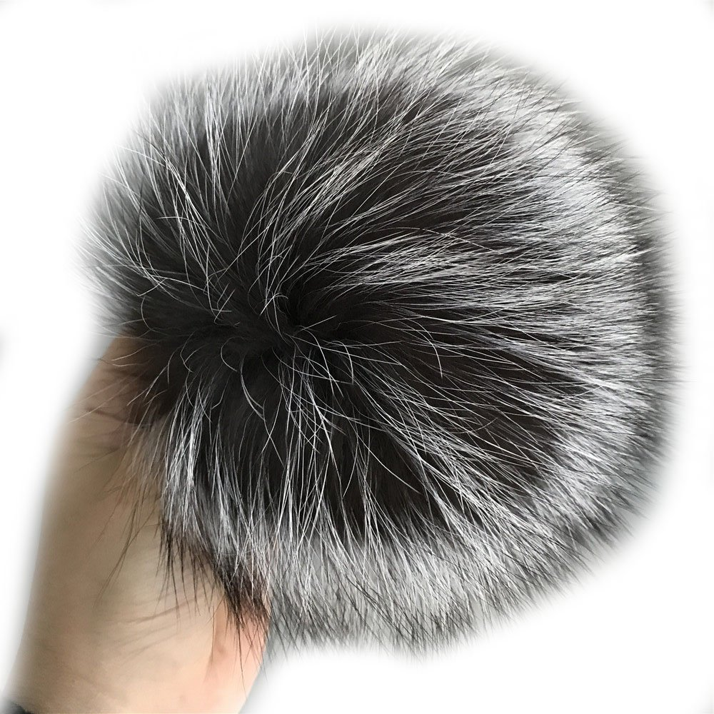 15cm 6 Real Silver Fox Fur Pompom Ball w Snap Button f Knitted Cap Beanie Hat