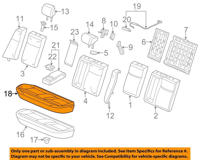 Honda Genuine 82131-TR3-A61ZB Seat Cushion Trim Cover Rear