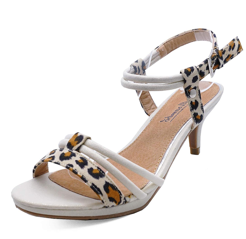 59db548177c HeelzSoHigh Ladies Leopard Kitten-Heel Open-Toe Strappy Comfy Summer  Sandals Shoes Sizes 2-8