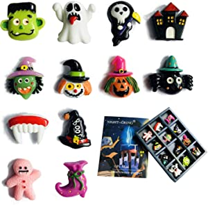 NIGHT-GRING 12 Pcs Halloween Decorations Refrigerator Magnets Office Whiteboards Magnets Halloween Fridge Magnet Home Decoration