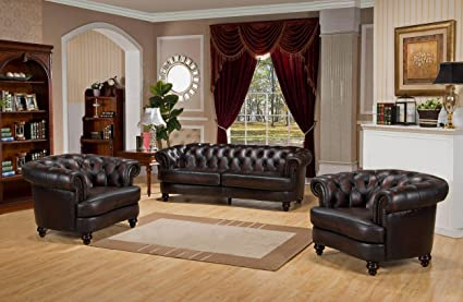 Amazon.com: Hydeline - Mario Leather 3 Piece Sofa Set ...