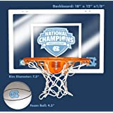 "UNC Limited Edition 2017 Men's Basketball National Championship 12"" X 18"" Mini Backboard and Ball and Hoop Slam Jam Set"