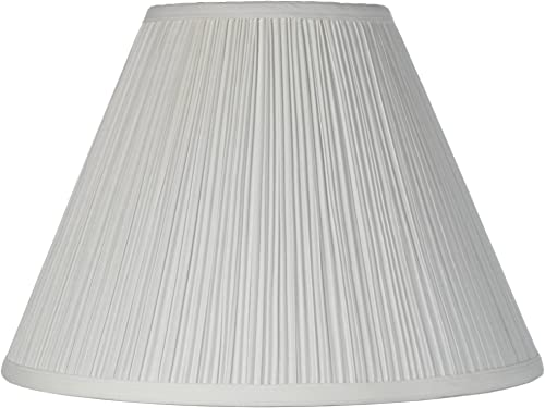 Vintage Empire Lamp Shade with Harp Pleated Cone White Fabric 6.5x15x11 Spider – Brentwood