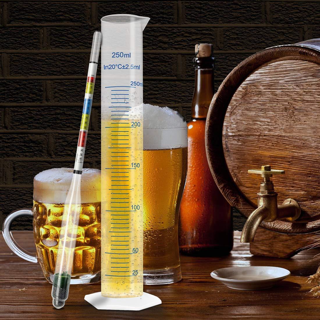 Vino aguamiel Sidra 30,5x2,5 cm luosh Hidr/ómetro de Triple Escala para Cerveza