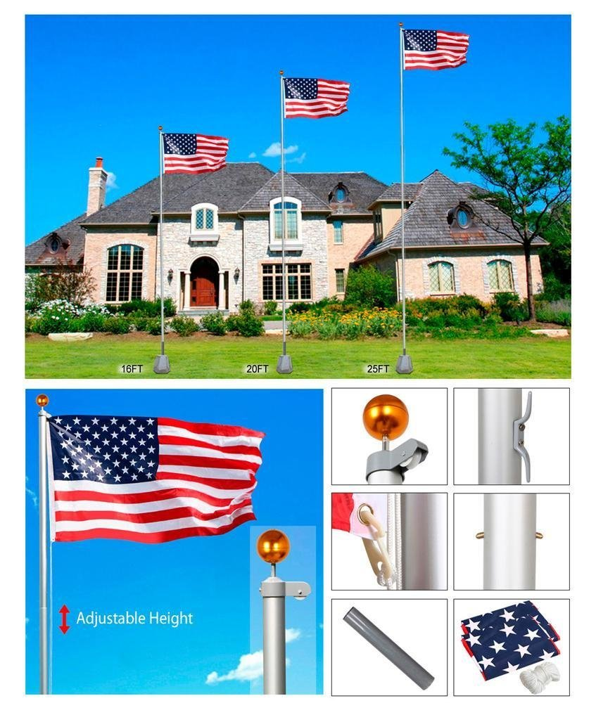 Yaheetech Heavy Duty Flag pole Gold Ball Outdoor Kit Halyard Patio Pole, 20ft ,with 2Pcs 3'x5' Flags by Yaheetech (Image #9)