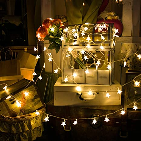 info for 7d708 4c483 Star String Lights, 5M 50 LED Warm White Fairy Lights Battery Operated,  Steady On and Flash Two Mode Decorative String Lighting for Home Party ...