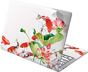 """Cavka Vinyl Decal Skin for Apple MacBook Pro 13"""" 2019 15"""" 2018 Air 13"""" 2020 Retina 2015 Mac 11"""" Mac 12"""" Koi Fish Design New Cover Flowers Pond Japanese Print Lily Water Laptop Protective Sticker Cute"""