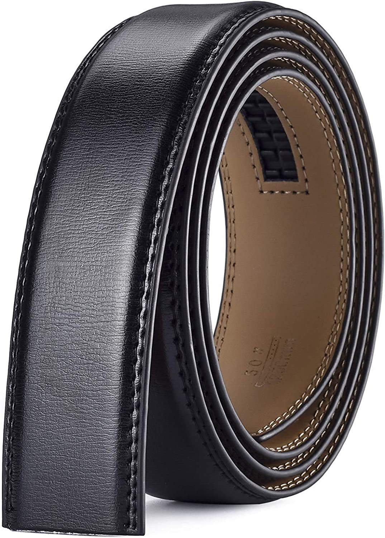 Xhtang Mens Genuine Leather Belt without Buckle Ratchet Belt 35mm 1 3//8