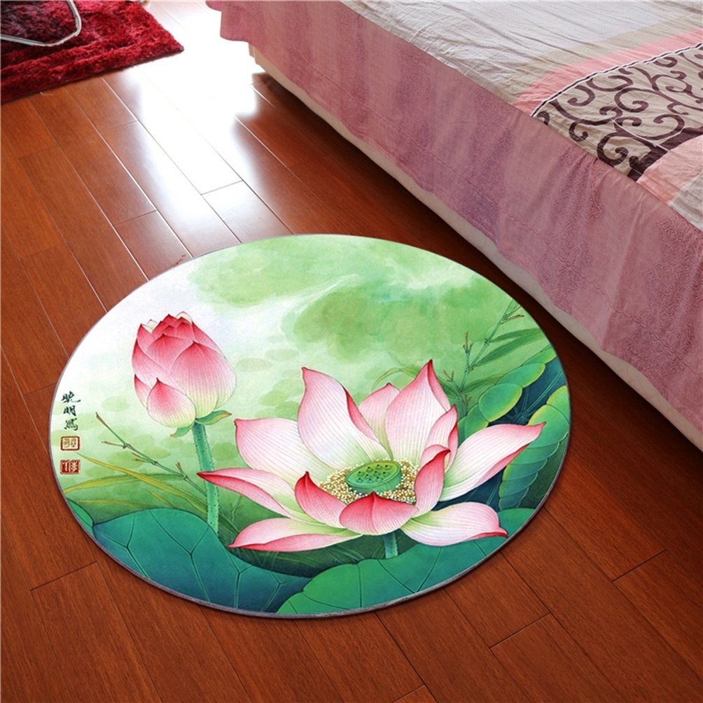 Rug WAN SAN QIAN- 3D Round Carpet Chinese Office Carpet Basket Swivel Chair Carpet Mats Children Bedroom Lotus Carpet (Color : A, Size : 80x80cm)