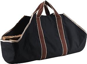 Large Canvas Log Tote Bag Carrier Indoor Fireplace Landman Firewood Totes Holders (1)