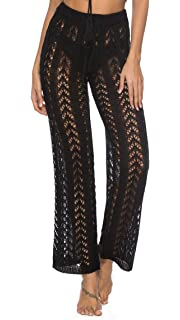 efe3002985 Ayliss Women Crochet Lace Swim Pants Knitted Hollow Out Cover Up Pants High  Waist Fishnet Swimsuit