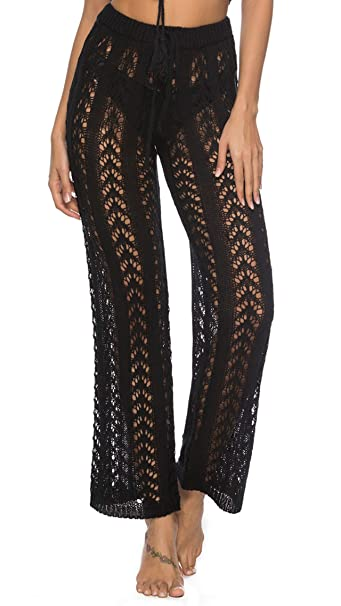 Ayliss Women Crochet Lace Swim Pants Knitted Hollow Out Cover Up