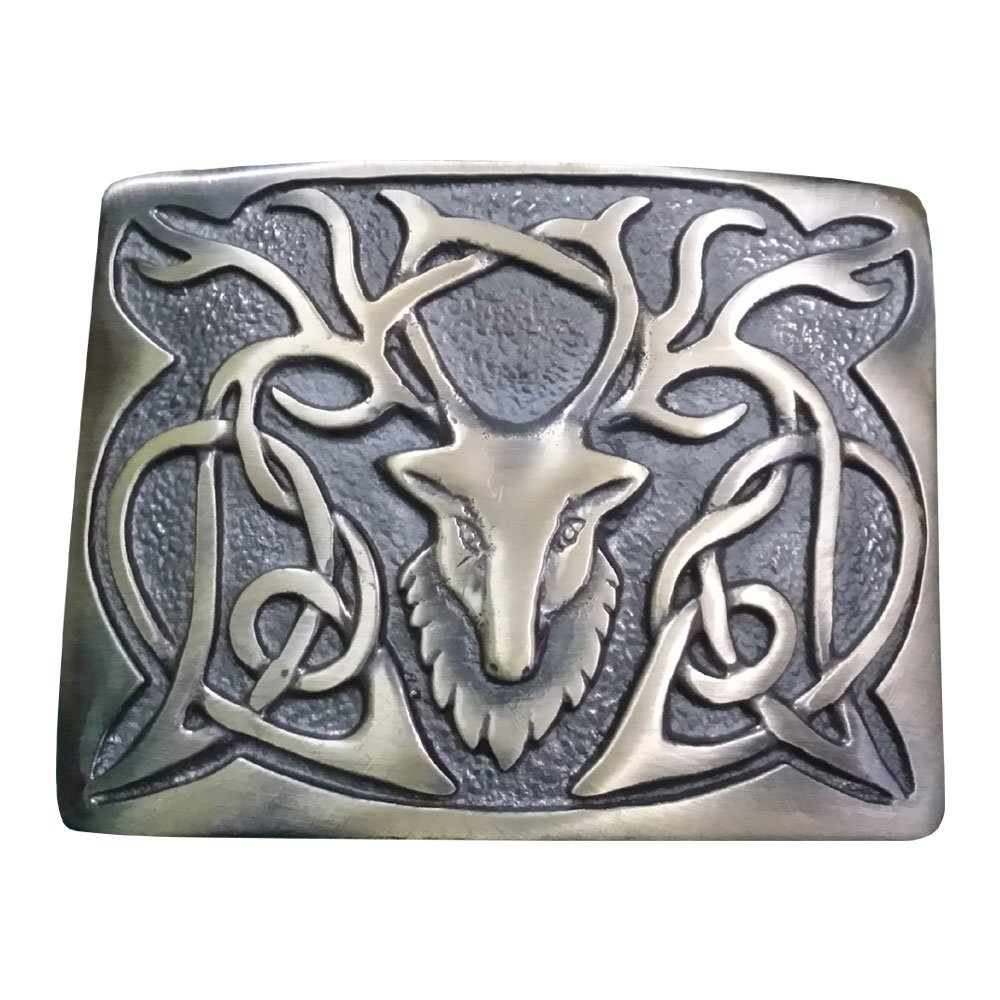 Scottich Kilt Belt Buckle Stag Head Design Antique Plated AAR Buckle Size Measures 3.75 X 2.75 KBBA-111