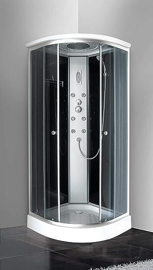 Mampara de ducha de hidromasaje 80 x 80 Cromoterapia con cristales ...