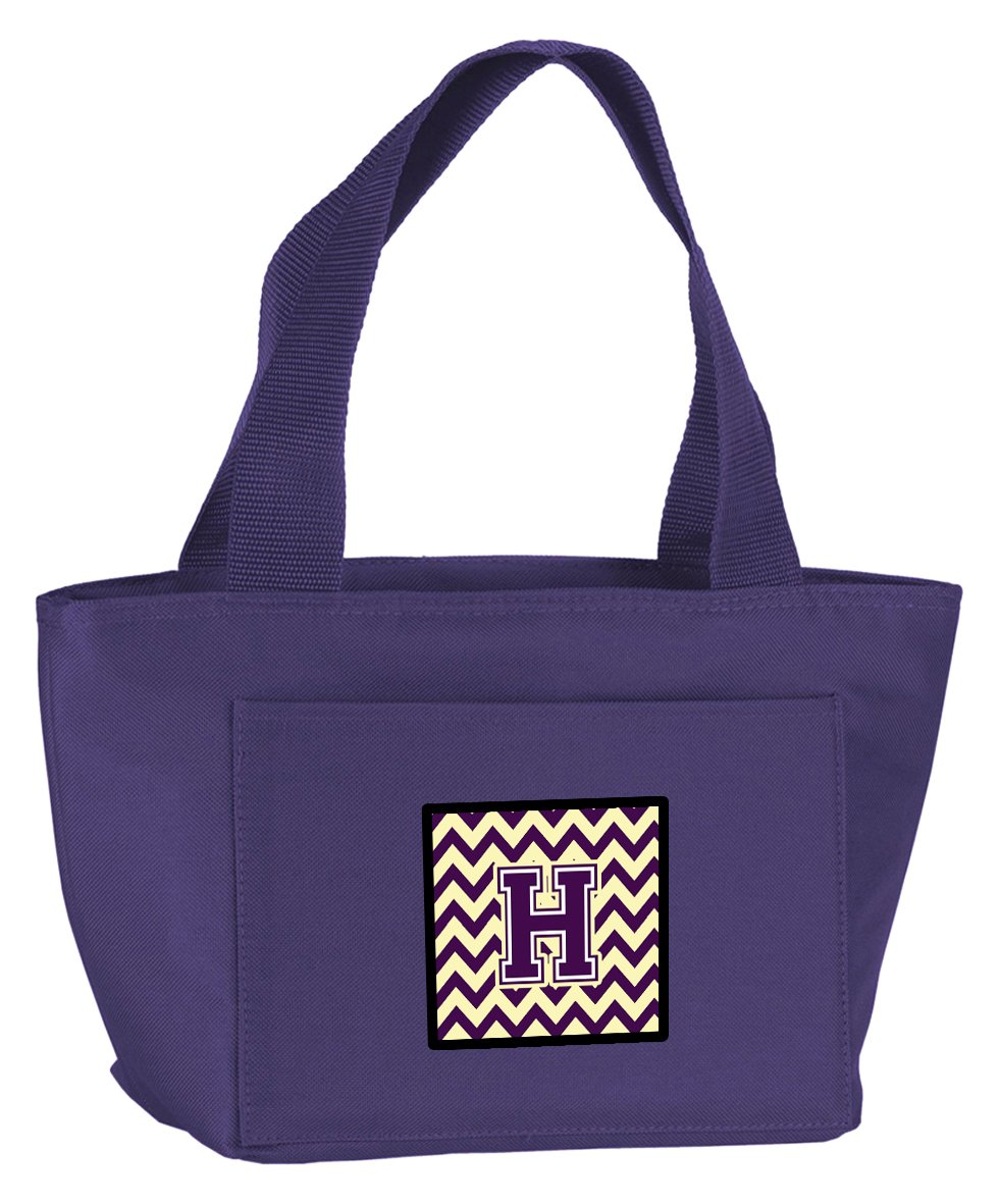 Caroline's Treasures CJ1058-HPR-8808 Letter H Chevron Purple and Gold Insulated Lunch Bag, Large, Multicolor   B071VTRGBY