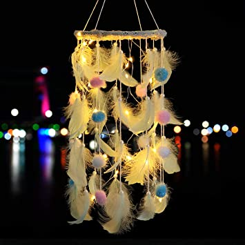 Lavay Dream Catcher With Star Led Light Pink And Blue Feather Handmade Light Up Dream Catchers For Kids Bedroom Boho Decor Baby Nursery Hanging