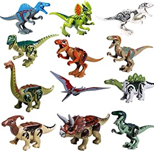 STSTECH Mini Dinosaur Toy Playset,DIY Dinos Building Block Action Figures,Educational Gift for Kids(Pack of 12)
