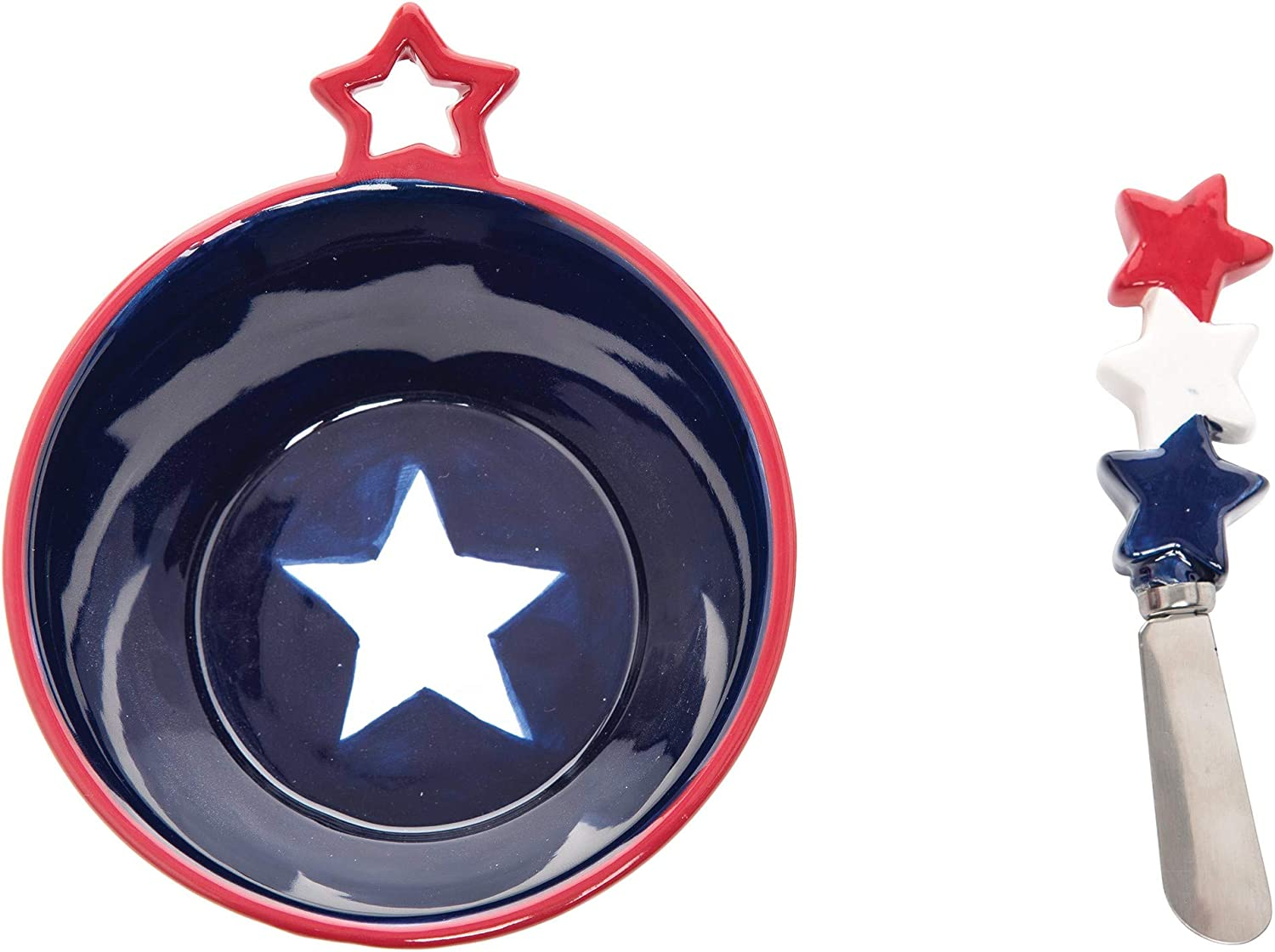 Amazon Com C F Home Stars Stripes Patriotic American Dip Bowl And Spreader Set Of 2 Blue Home Kitchen
