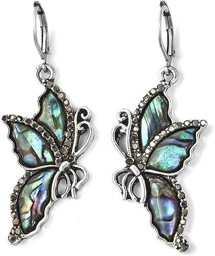 SPARKLE Antique Silver Metal Hematite CZ Crystals Tear Drop Dangle Earrings