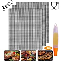 Non-Stick BBQ Grill Mesh Mat - Grill Mesh Reusable,Grill & Bake Mats for Charcoal,Cooking,Baking,Barbecu, Gas or Electric Grill-Heat Resistant, Easy to Clean(3Mats + Oil Brush Bottle)