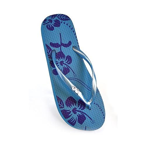 FLOSO® Damen Flip Flops mit Hibiskusblüten-Muster und Schmucksteinen (EURO 36/37) (Rosa) VO10WB95