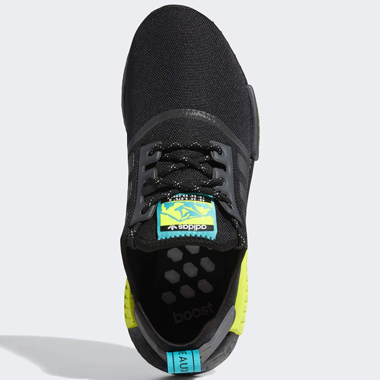 adidas Originals Men's NMD_r1 Trail Sneaker Black/Real Blue/Semi Solar Yellow