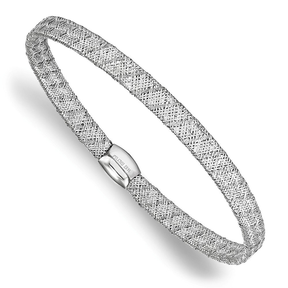 14K White Gold Leslie's Fancy Stretch Bangle Bracelet Solid 7.5 in 4 mm 7.5 in Mesh Adjustable, Stretch & Wrap Bracelets Jewelry