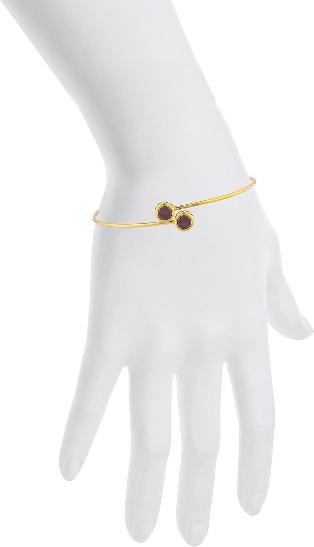 Elizabeth Jewelry CZ Garnet Round Bezel Bangle Bracelet 14Kt Yellow Gold Plated Over .925 Sterling Silver