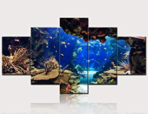 TUMOVO Home Decorations for Living Room Aquarium Pictures Coral and Fish Paintings Gallery-Wrapped 5 Panel Prints on Canvas Abstract Artwork Seascape Wall Art Framed Ready to Hang(60''W x 32''H)
