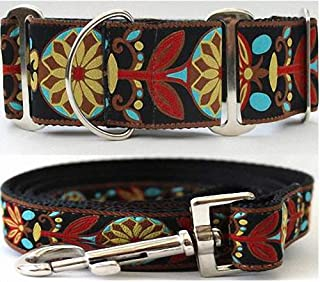 "product image for Diva-Dog 'Mandala Star Parisian Deco' 2"" Extra Wide Chainless Martingale Dog Collar, Matching Leash Available - MD, LG, XL"