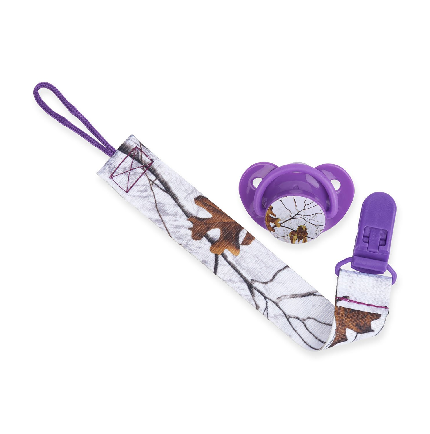 New Realtree Camouflage Orthodontic BPA Free Pacifier /& Lanyard Clip Set Purple