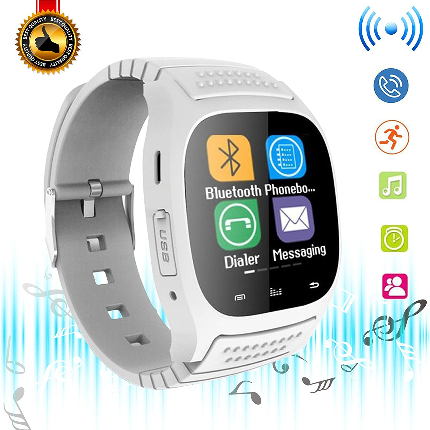 Bluetooth Smart Watch Touch Screen Smart Wrist Watch Smartwatch with Pedometer Sport Tracker Answer Call Music Player for Android Samsung Galaxy LG ...