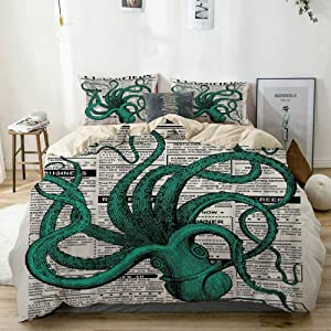 Mokale Duvet Cover Queen,Octopus Newspaper Classifieds with Words Ocean Creature Vintage Style,100% Washed Microfiber 3pcs Bedding Set with 2 pillow shams,Reversible beige,Zipper Closure & Corner Ties