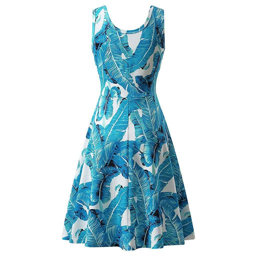 Aunimeifly Womens Round Neck Sleeveless Bohemian Dress Ladies A Line High Waist Pleated Sundress
