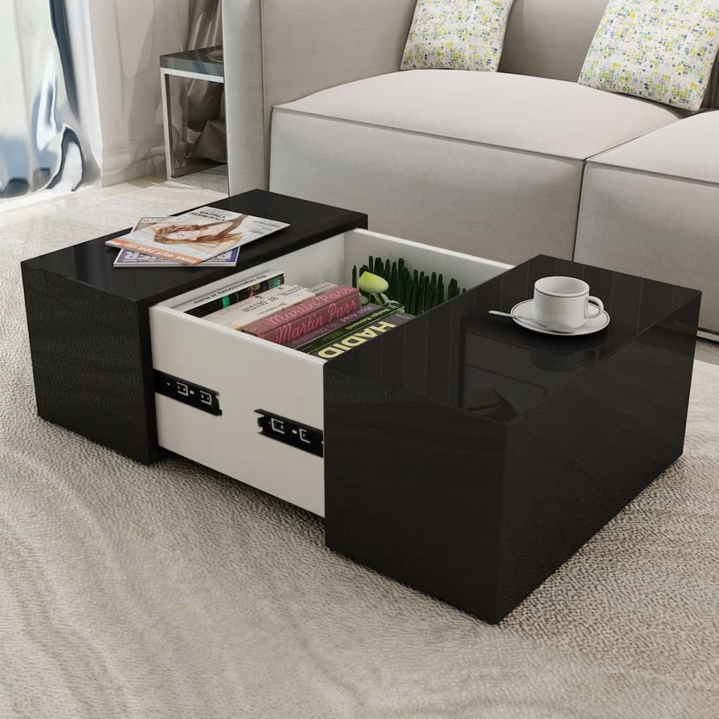 Festnight Square Coffee Table Dining Room High Gloss Modern End Side Table with A Concealed Storage Compartment