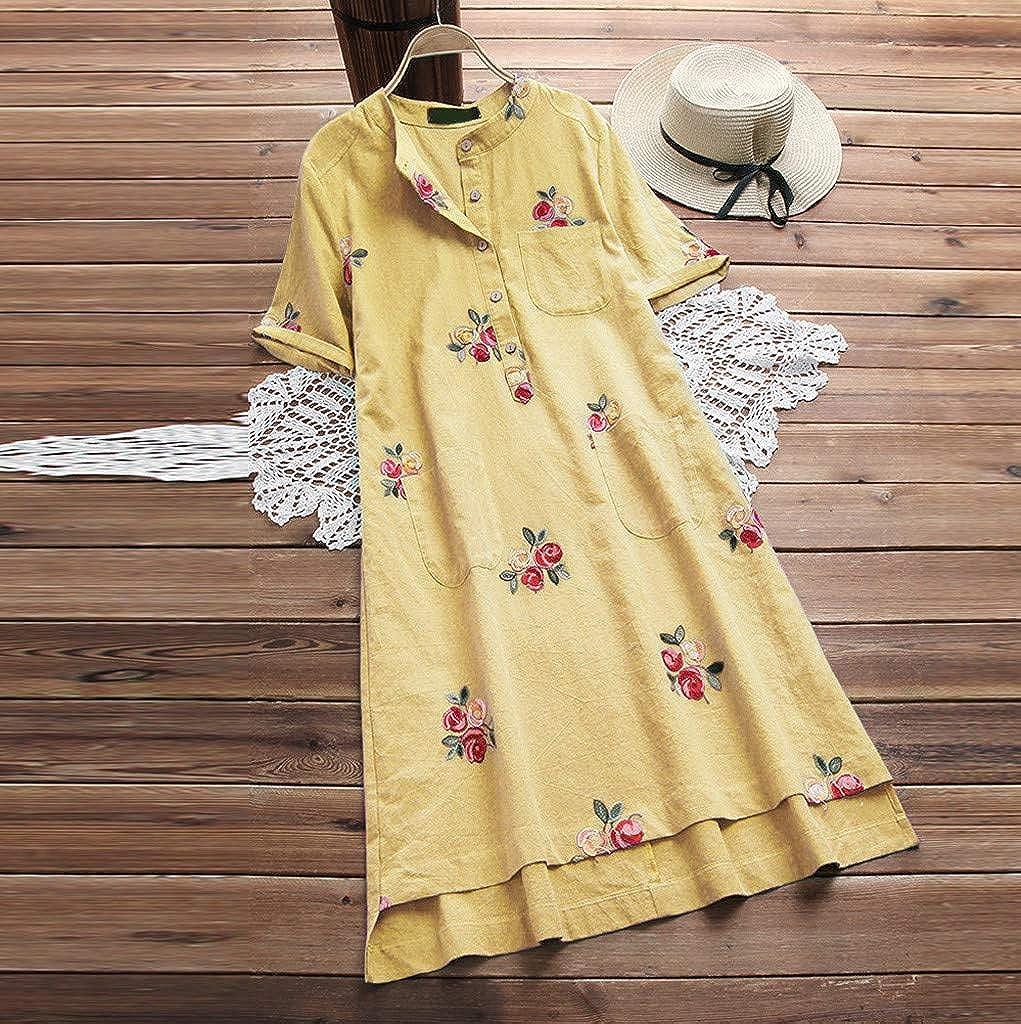 Dress TUDUZ Sale Women Summer Loose Floral Embroidered Buttons Up O-Neck Short Sleeve Linen Shirt Dress
