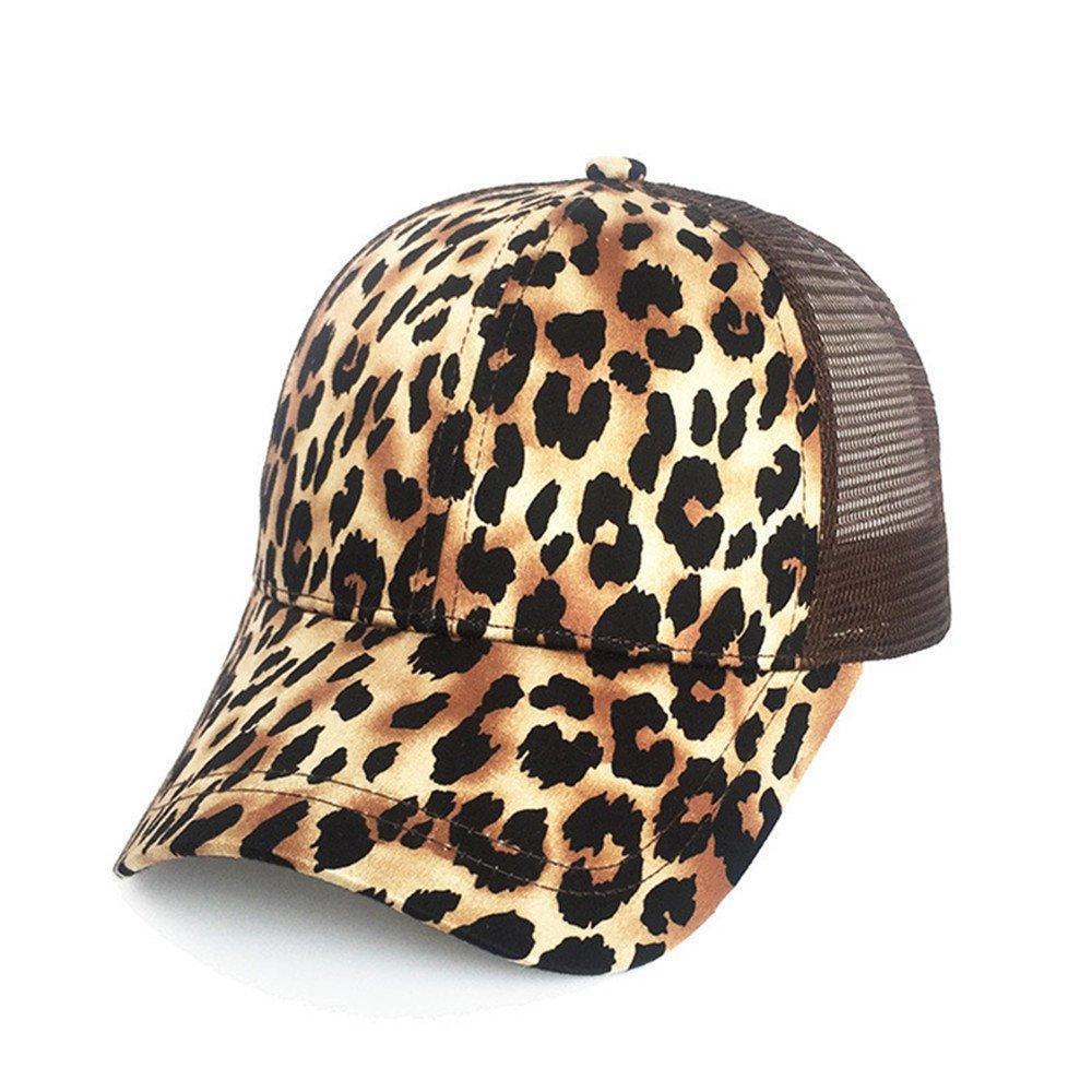 SLGJ Mode Leopard Pferdeschwanz Baseball Cap Frauen Baseball Hut Snapback Sommer Casual Mädchen Hip Hop Sport Hüte