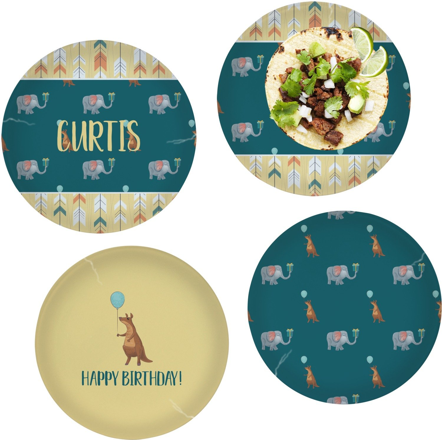 Animal Friend Birthday Set of 4 Lunch / Dinner Plates (Glass) (Personalized)