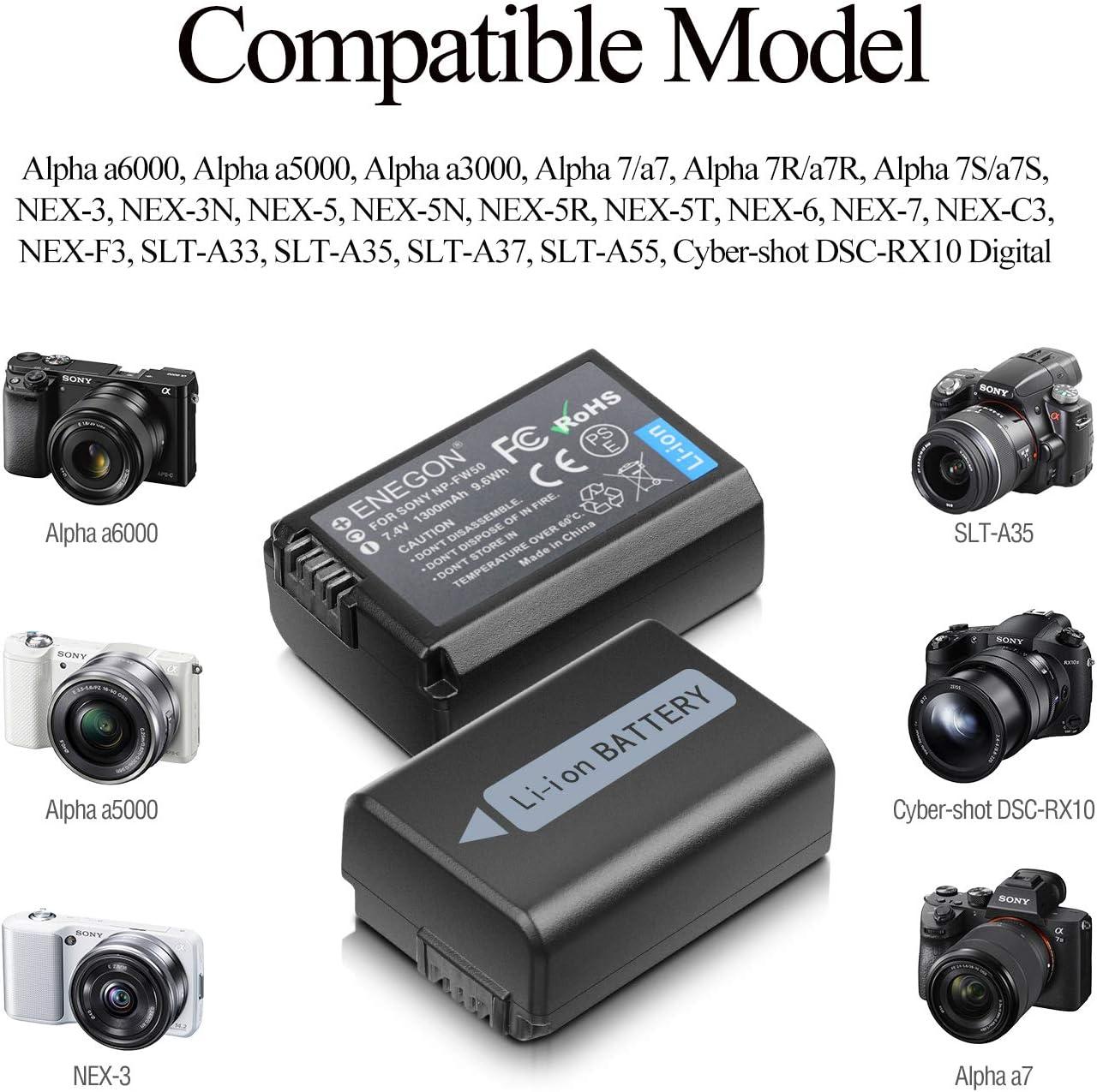 ENEGON NP-FW50 Batería de Repuesto (Paquete de 2) y Smart LED ...
