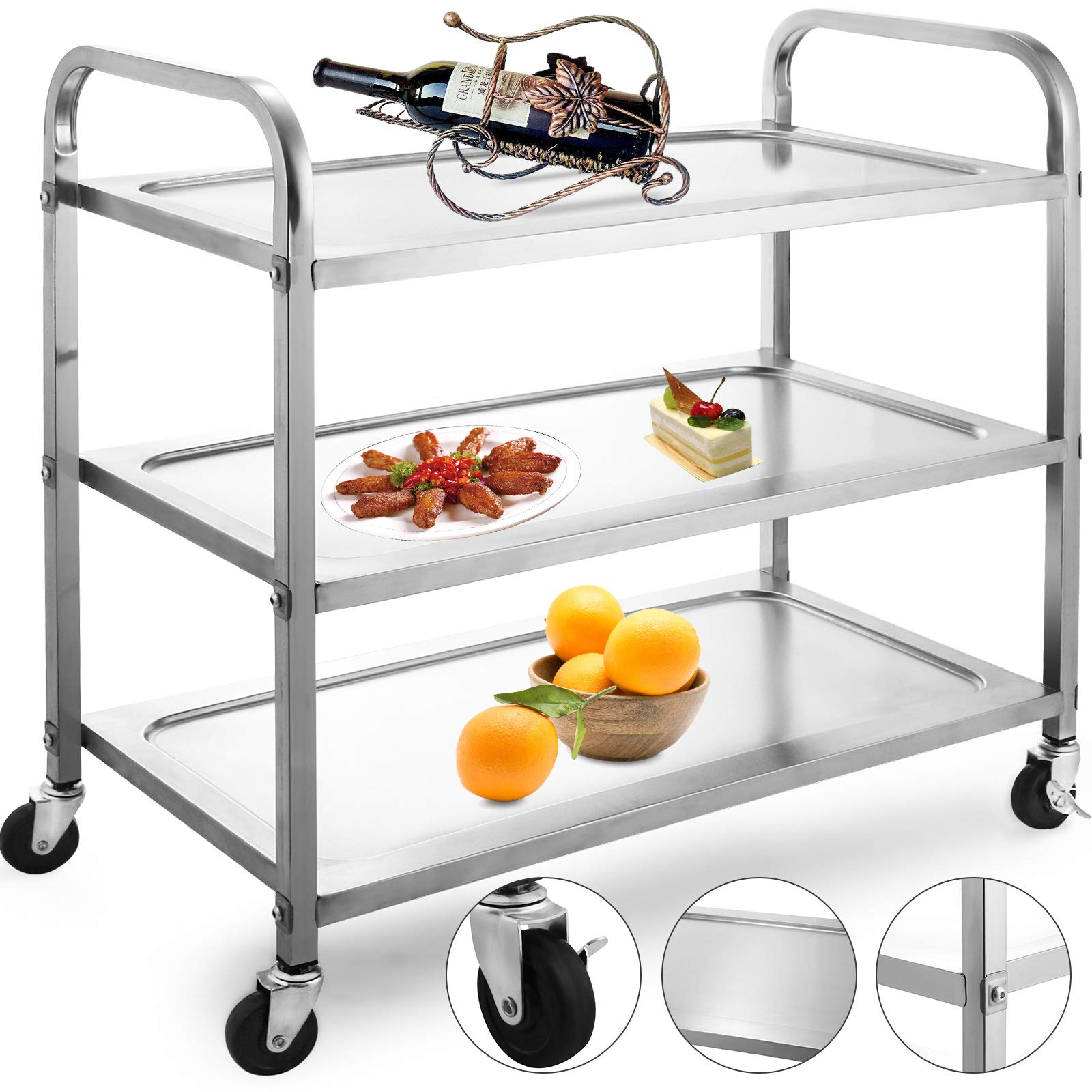 VBENLEM Utility Cart 3 Shelf Utility Cart on Wheels 330Lbs Stainless Steel Cart Kitchen Bus Cart Food Cart Catering Rolling Dolly with Double Handle by VBENLEM