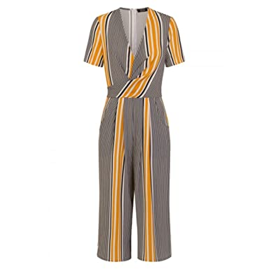 7a44f960adf5 Girls On Film Womens Ladies Stripe Wrap Jumpsuit (6 UK) (Mustard Black)   Amazon.co.uk  Clothing