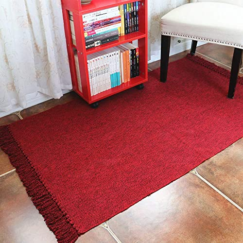 Wine Red Cotton Area Rug with Tassels, HiiARug Decorative Area Rug Woven Rag Rug Entryway Thin Throw Mat for Laundry Room Living Room Bedroom 4 Feet by 6 Feet