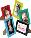 """Set of 10 - 5""""x7"""" Wooden Photo frames in 5 Colors: Black, Yellow, Green, Blue and Red, for Tabletop or Wall Mount Use"""